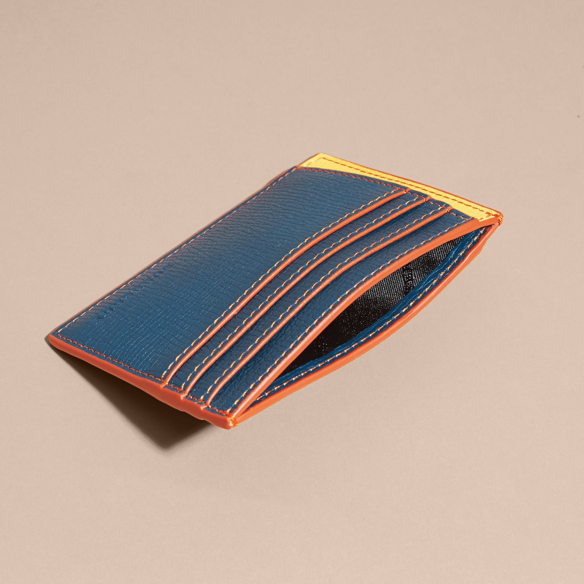 Colour Block Leather Card Case Marine Blue - gallery image 5