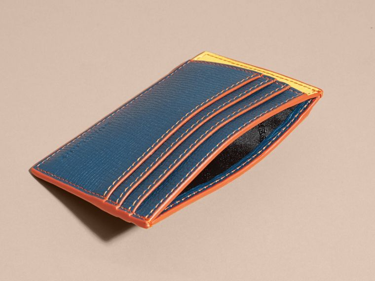 Marine blue Colour Block Leather Card Case Marine Blue - cell image 4