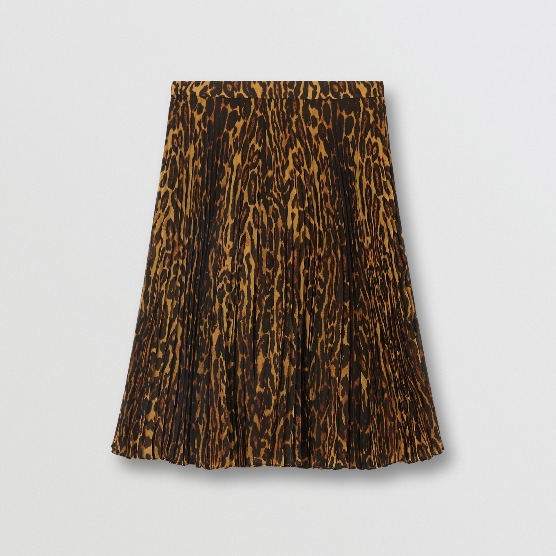 Leopard Print Pleated Skirt in Dark Mustard - Women | Burberry United Kingdom - gallery image 3