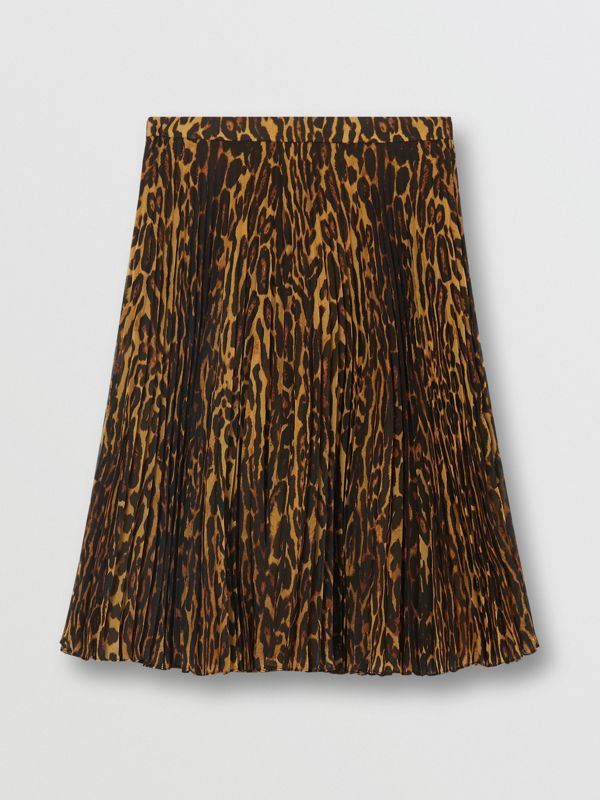 Leopard Print Pleated Skirt in Dark Mustard - Women | Burberry - cell image 3