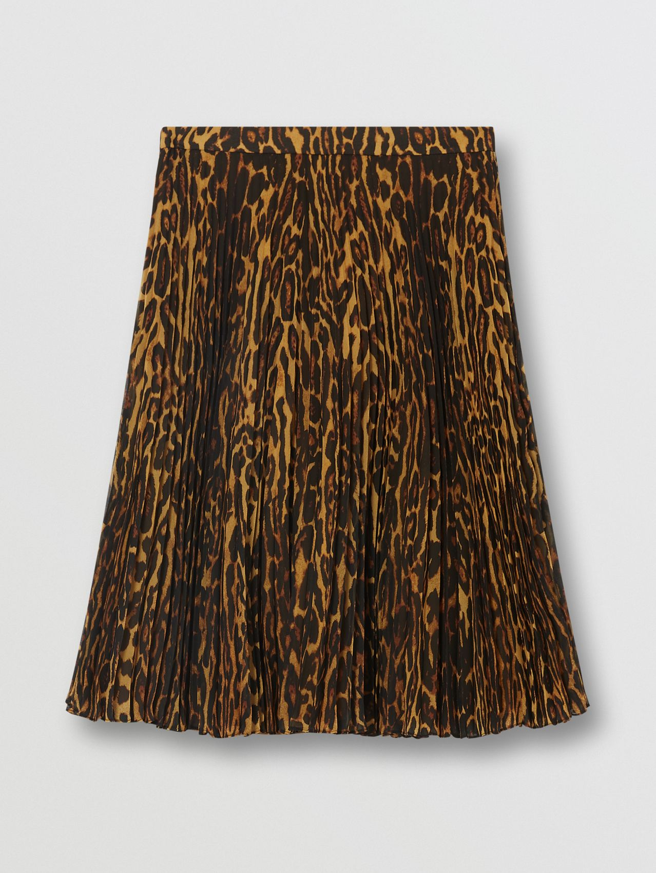 Leopard Print Pleated Skirt in Dark Mustard