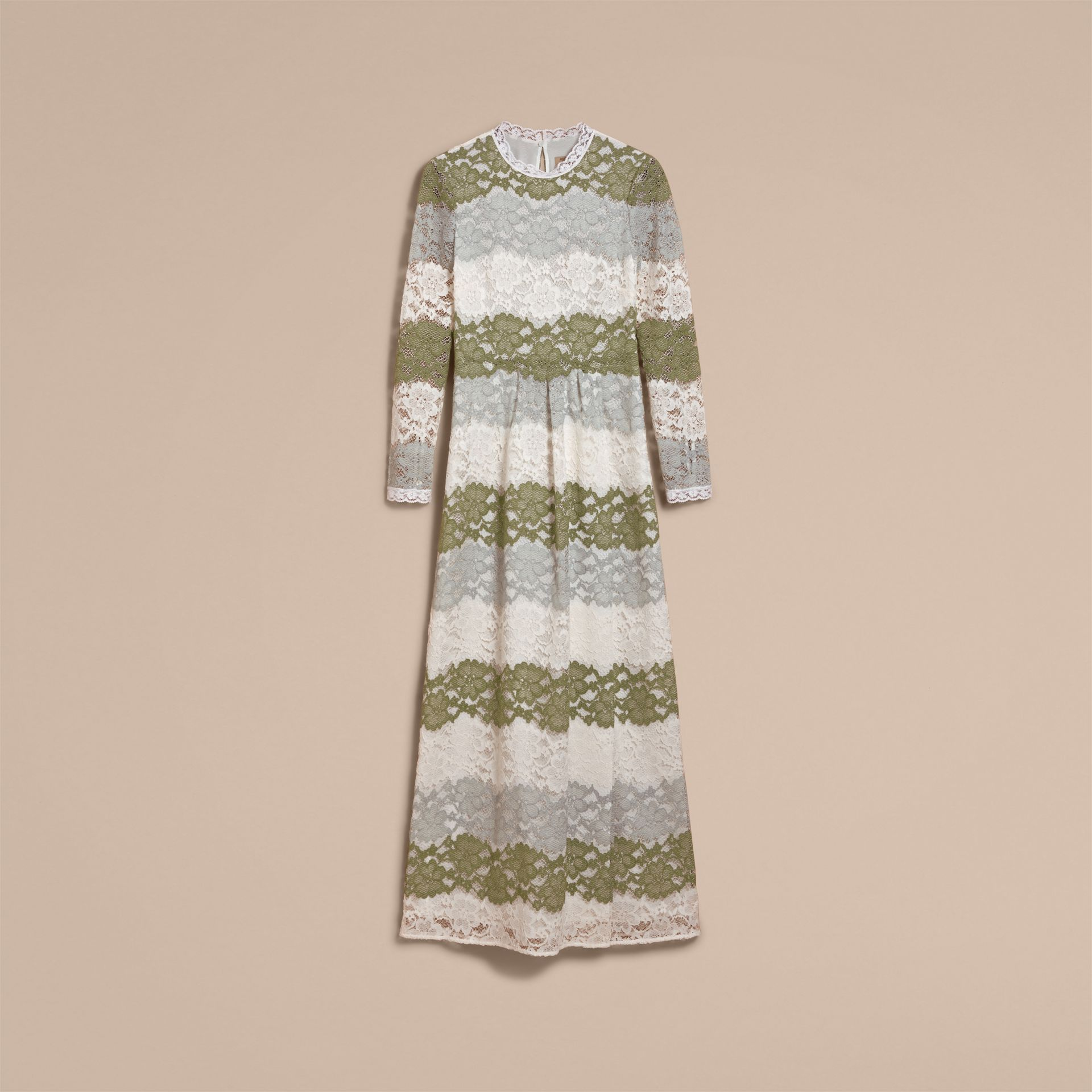 Floor-length Floral Lace Dress in Chalk Green - Women | Burberry - gallery image 4