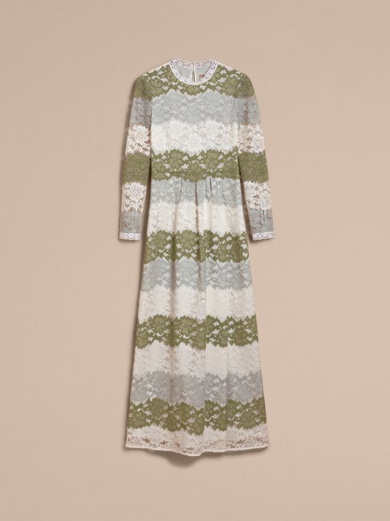 Floor-length Floral Lace Dress in Chalk Green - Women | Burberry - cell image 3