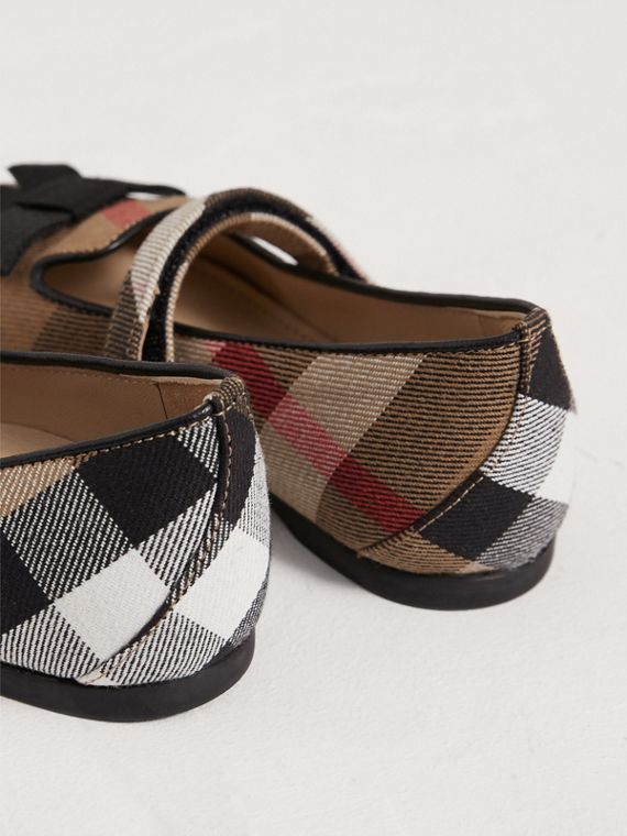 Bow Detail House Check Ballerinas in Classic | Burberry - cell image 2