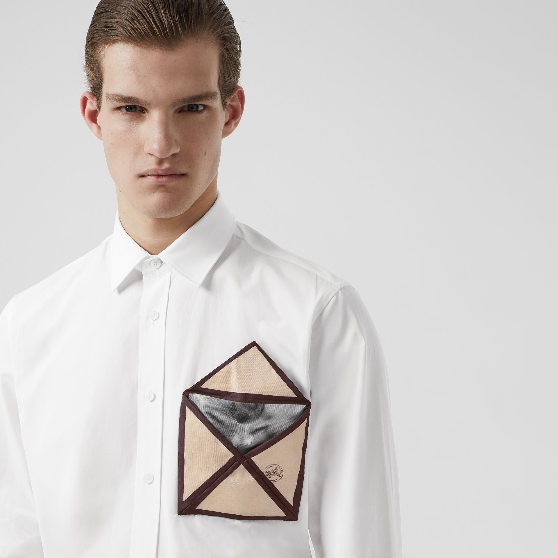 Silk Pocket Detail Cotton Shirt in White | Burberry - gallery image 5