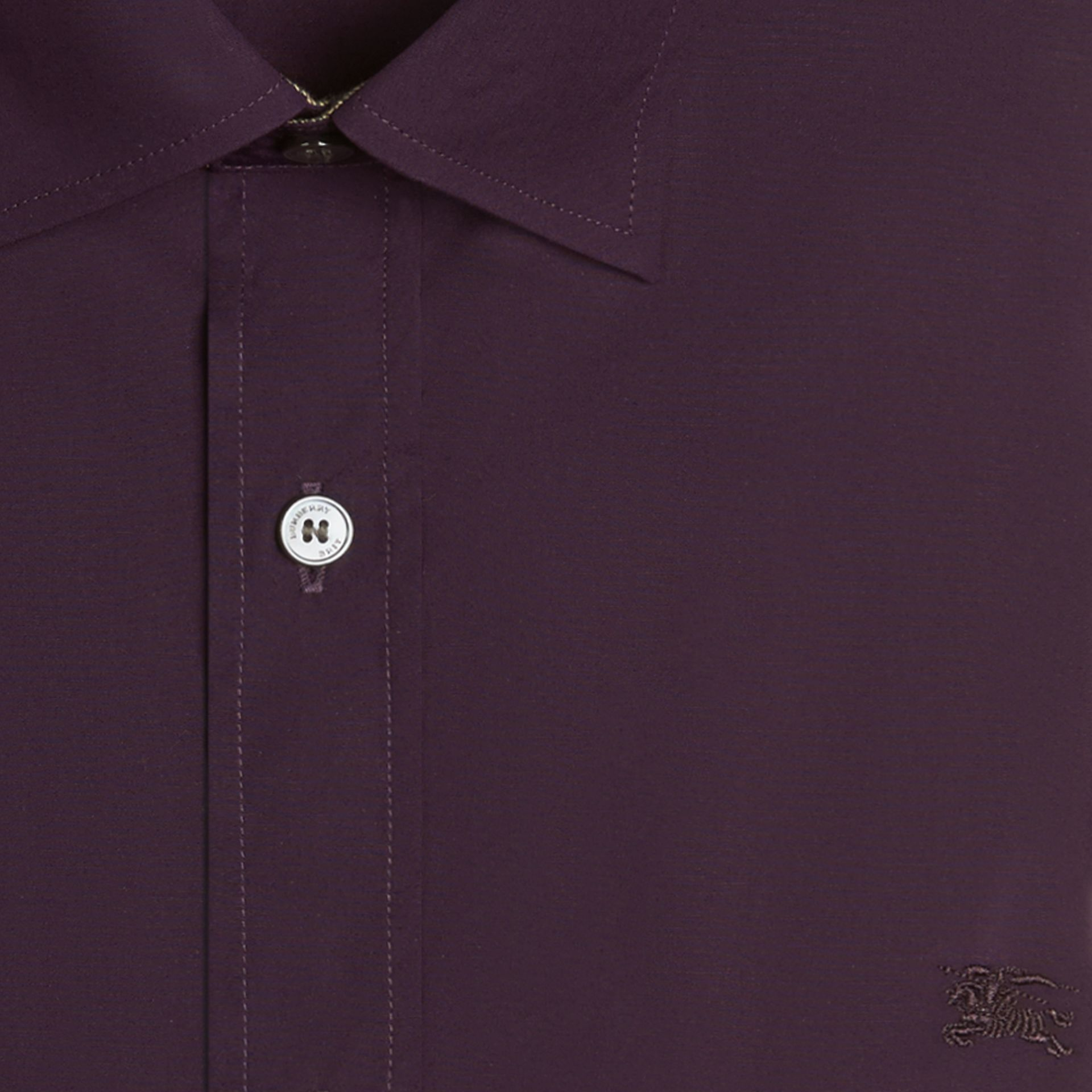 Check Detail Stretch Cotton Poplin Shirt in Dark Purple - gallery image 4