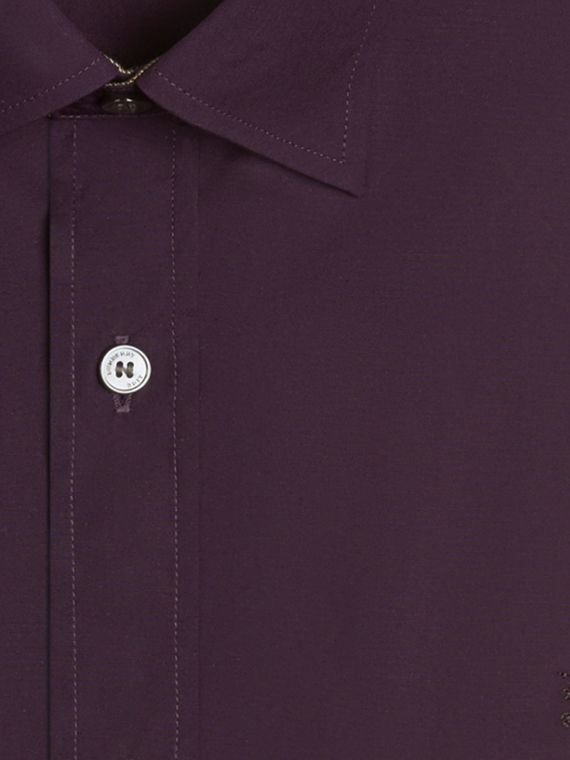 Check Detail Stretch Cotton Poplin Shirt in Dark Purple - cell image 3