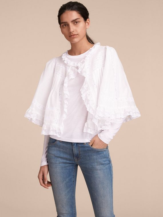 Lace Detail Ruffle Cape Overlay Long-sleeve Cotton Top - Women | Burberry