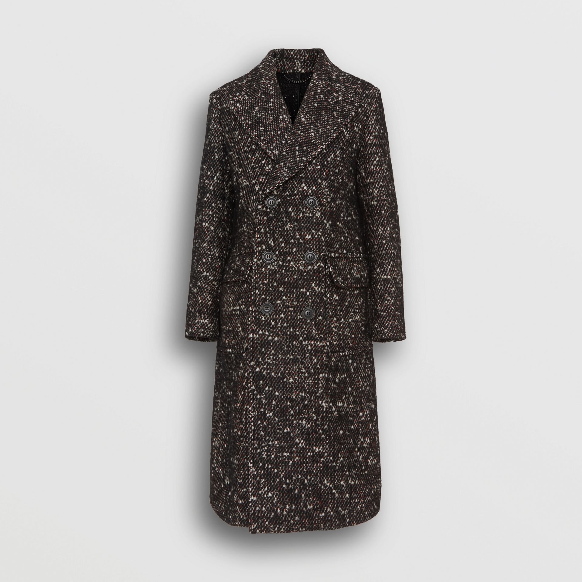 Wool Mohair Blend Tweed Tailored Coat in Black - Men | Burberry - gallery image 3
