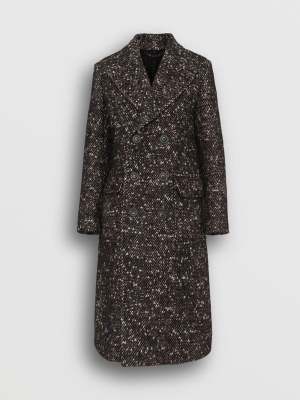 Wool Mohair Blend Tweed Tailored Coat in Black - Men | Burberry Singapore - cell image 3