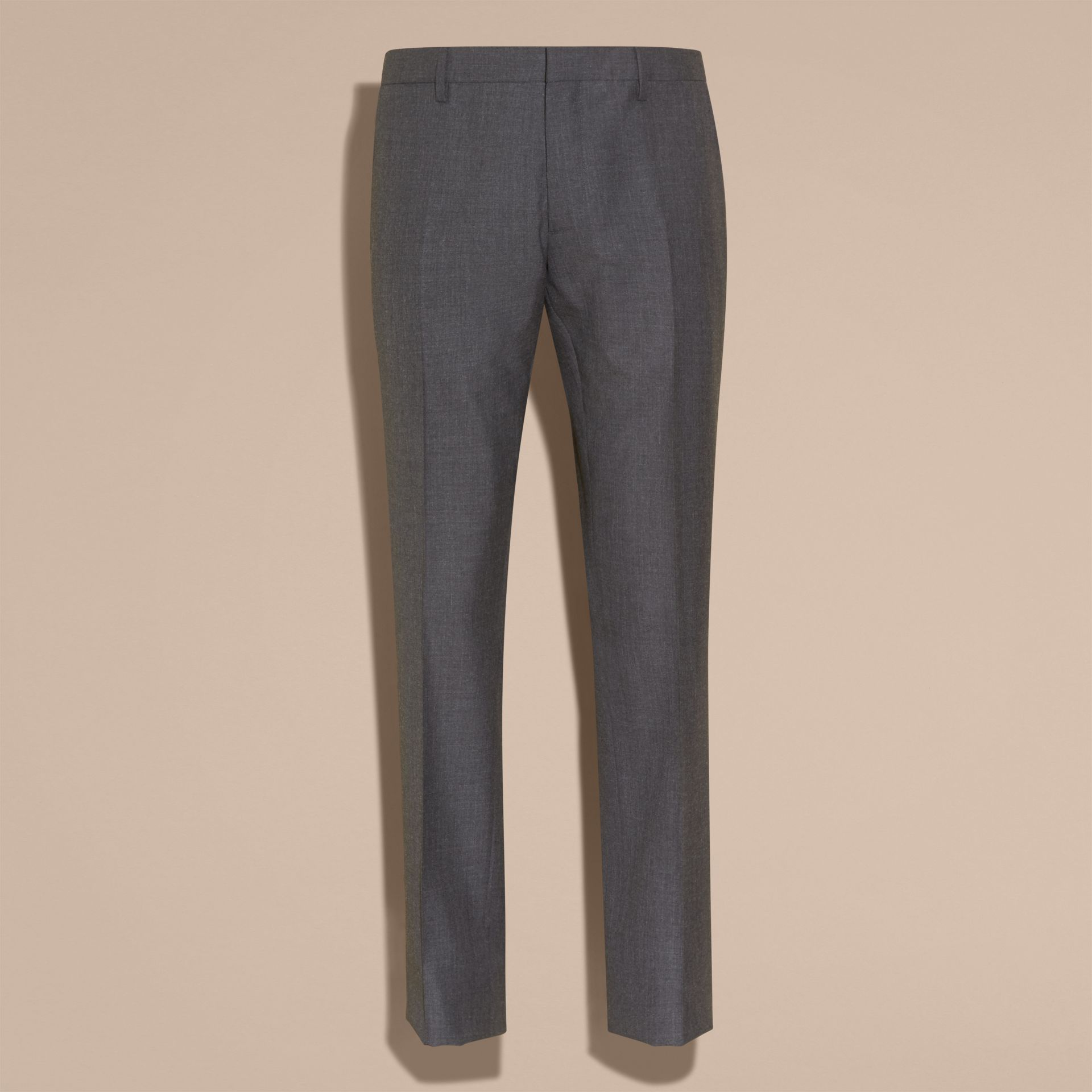 Modern Fit Wool Part-canvas Suit Charcoal - gallery image 10
