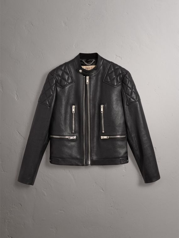 Diamond Quilted Detail Leather Biker Jacket in Black - Men | Burberry United Kingdom - cell image 3