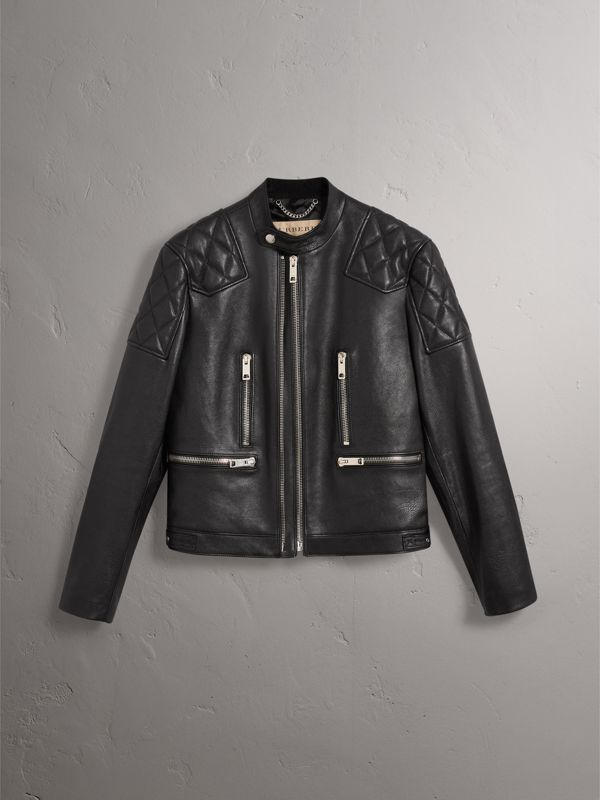 Diamond Quilted Detail Leather Biker Jacket in Black - Men | Burberry - cell image 3