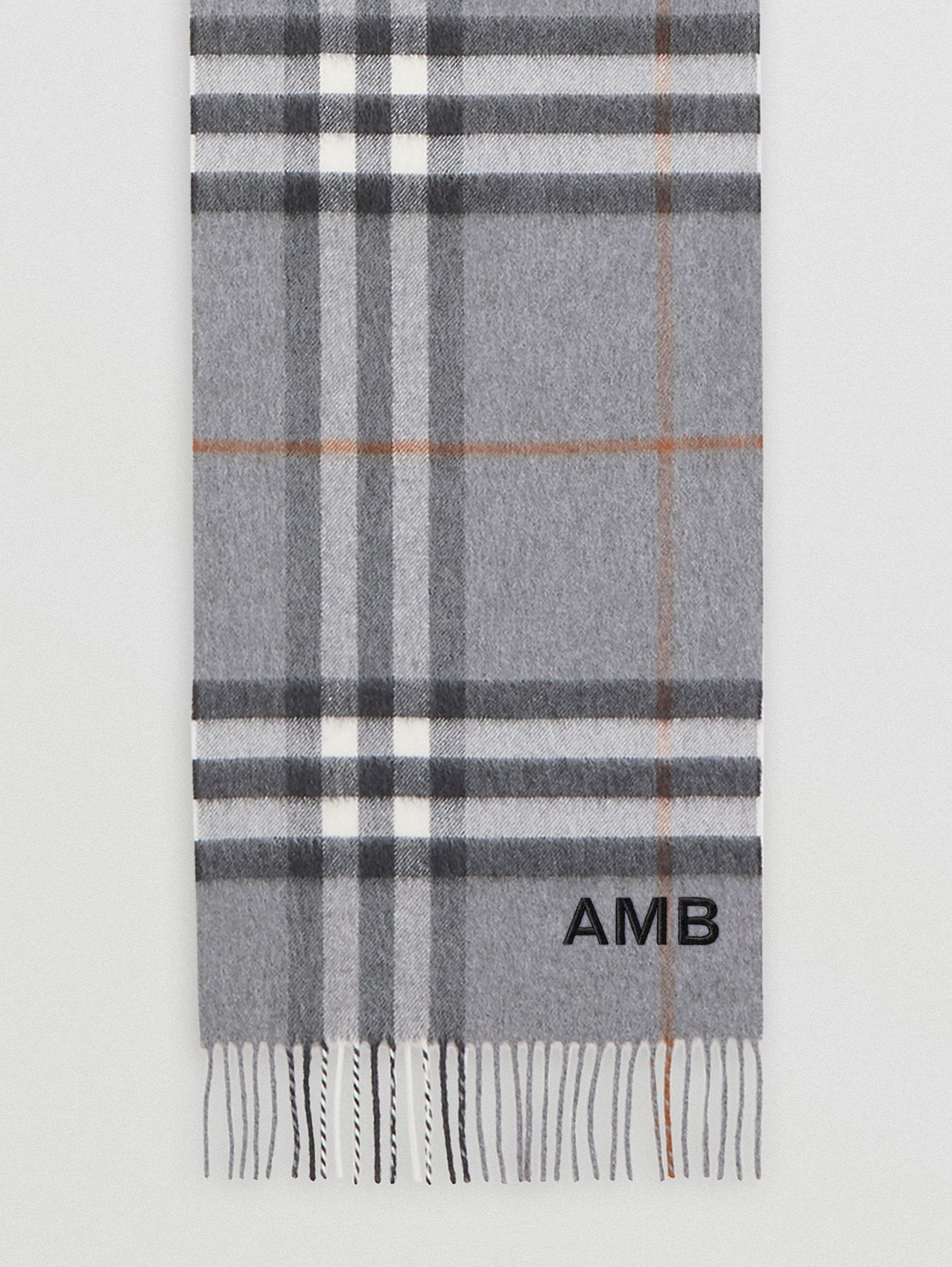 The Classic Check Cashmere Scarf (Grey)