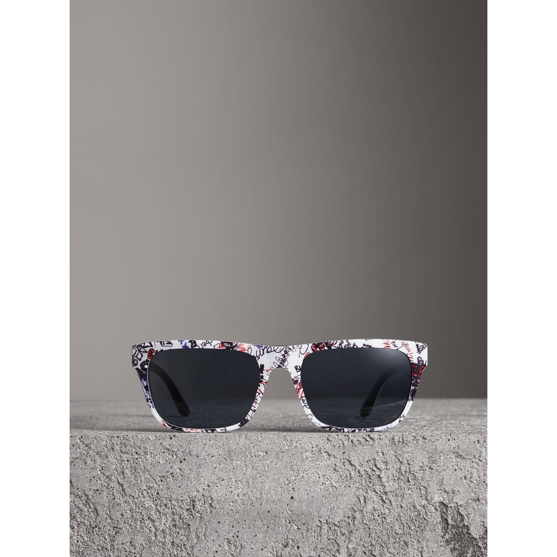 Doodle Square Frame Sunglasses in White - Men | Burberry United States - gallery image 3