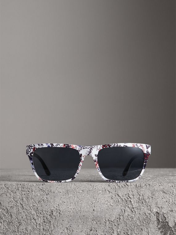 Doodle Square Frame Sunglasses in White - Men | Burberry - cell image 3