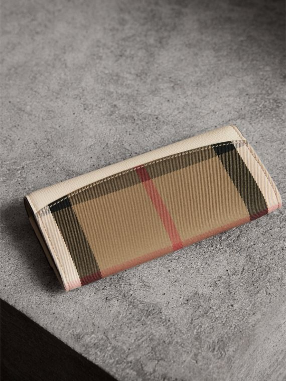 House Check And Leather Continental Wallet in Limestone - Women | Burberry - cell image 2