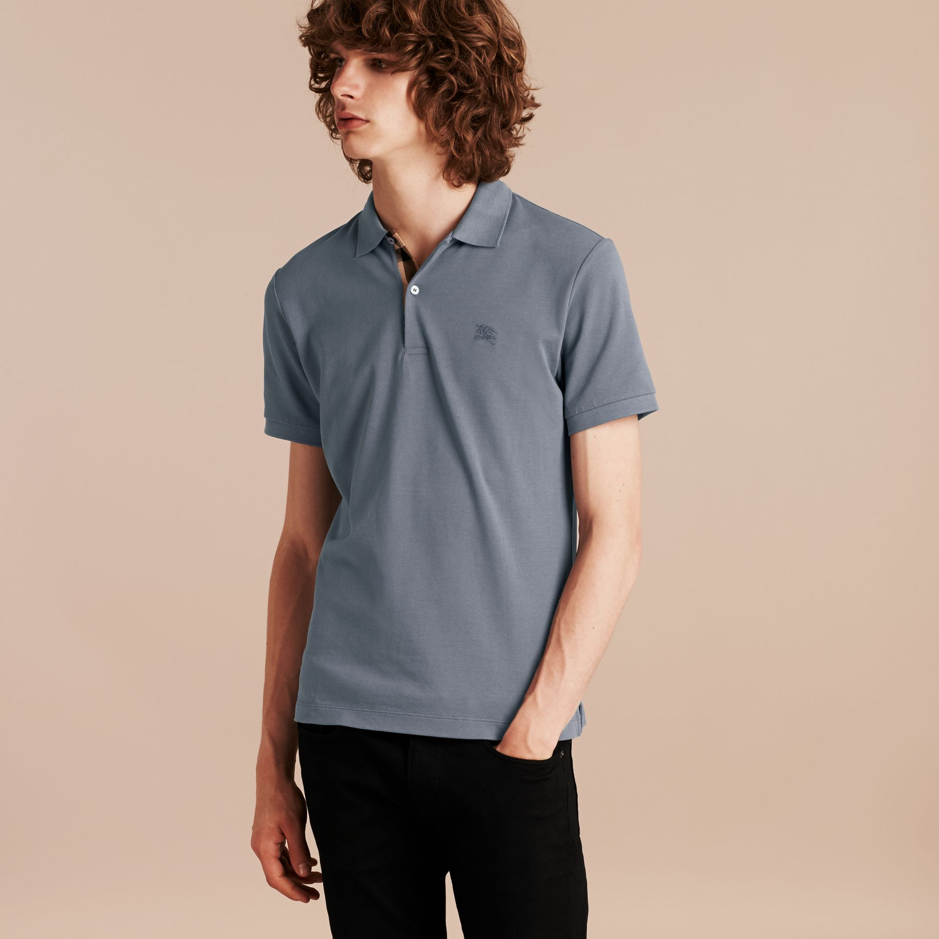 Check Placket Cotton Piqué Polo Shirt Stone Blue - gallery image 6