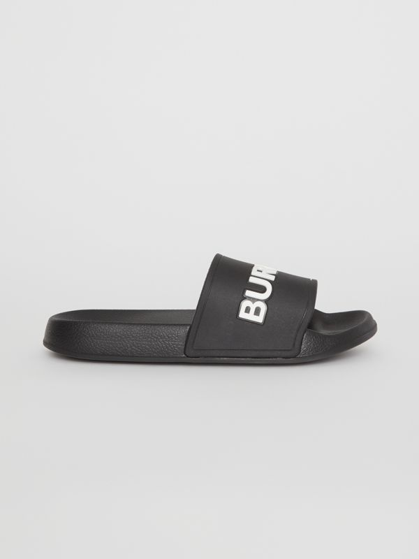 Kingdom Motif Slides in Black/optic White - Children | Burberry - cell image 3