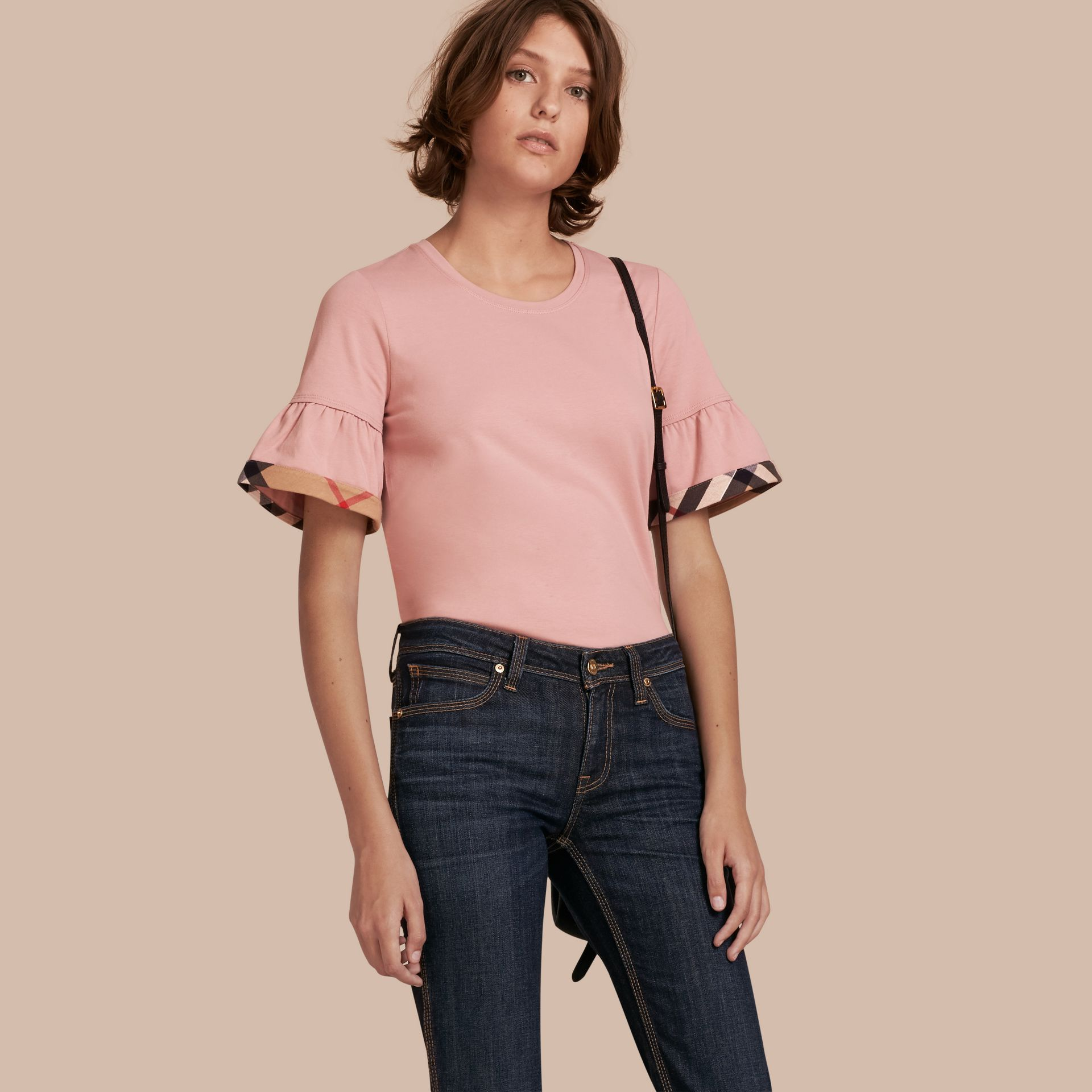 Stretch Cotton T-shirt with Check Trim Ruffles in Ash Rose - gallery image 1