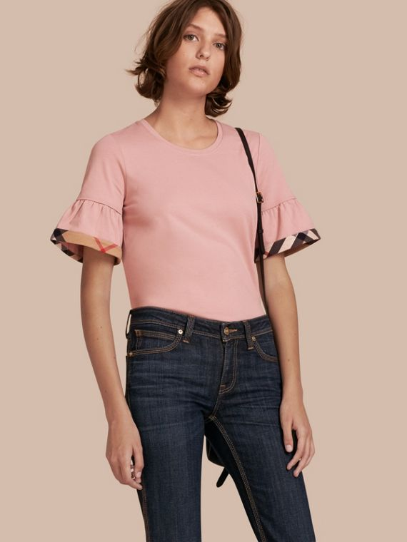 Stretch Cotton T-shirt with Check Trim Ruffles Ash Rose