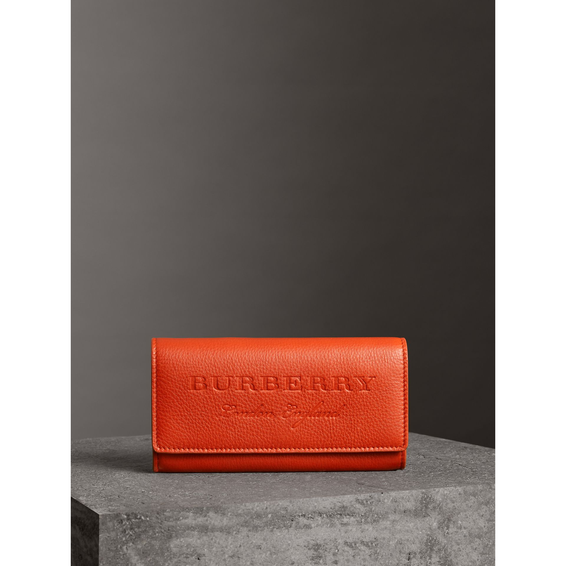 Embossed Leather Continental Wallet in Dark Clementine - Women | Burberry - gallery image 4