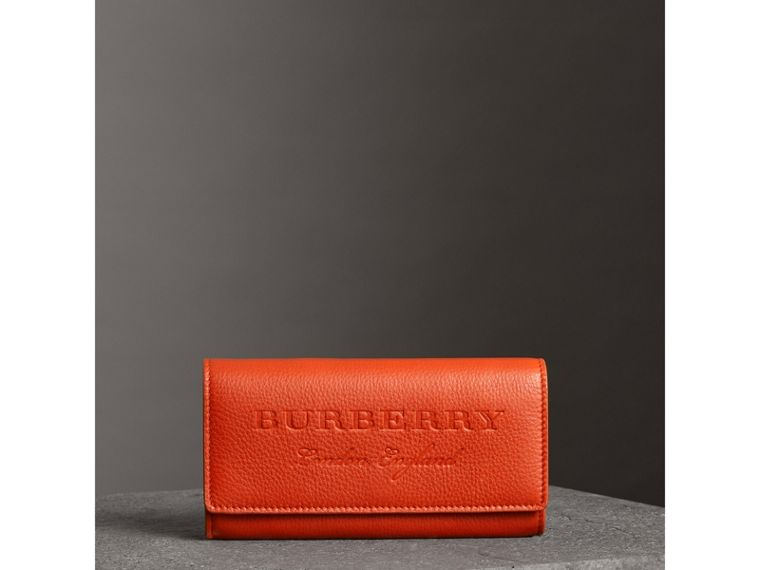 Embossed Leather Continental Wallet in Dark Clementine - Women | Burberry Australia - cell image 4