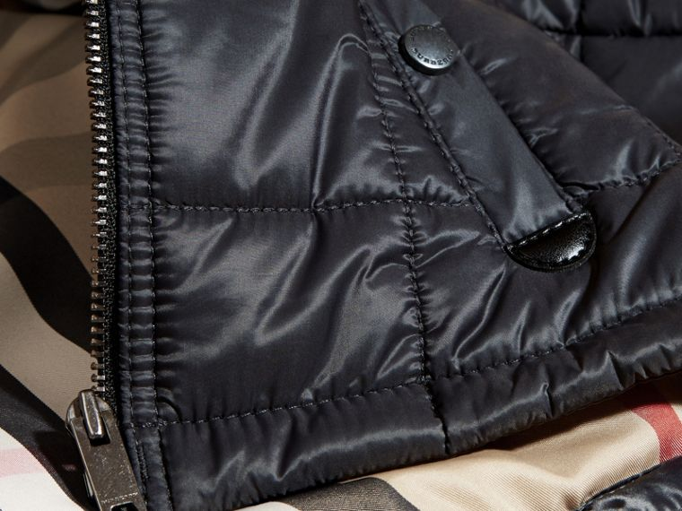 Charcoal Lightweight Quilted Jacket with Hood - cell image 1