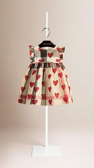 Robe en coton à motif check et imprimé à cœurs