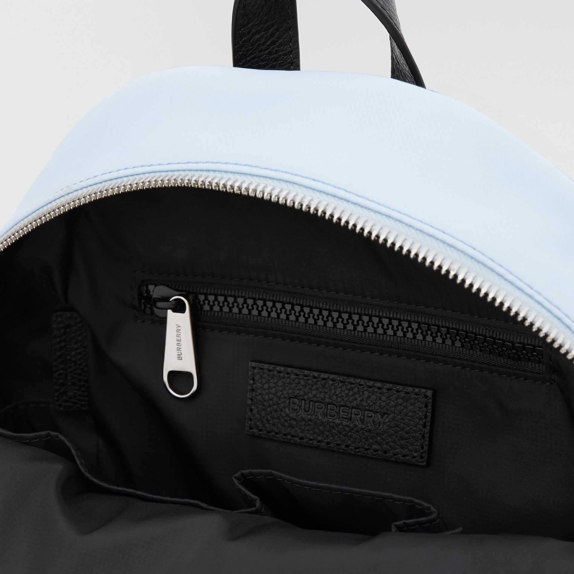 Logo Appliqué Icon Stripe ECONYL® Backpack in Pale Blue - Children | Burberry United Kingdom - gallery image 3