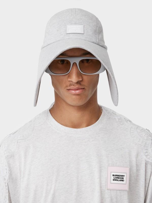 Logo Appliqué Cotton Jersey Bonnet Cap in Light Pebble Grey | Burberry - cell image 3