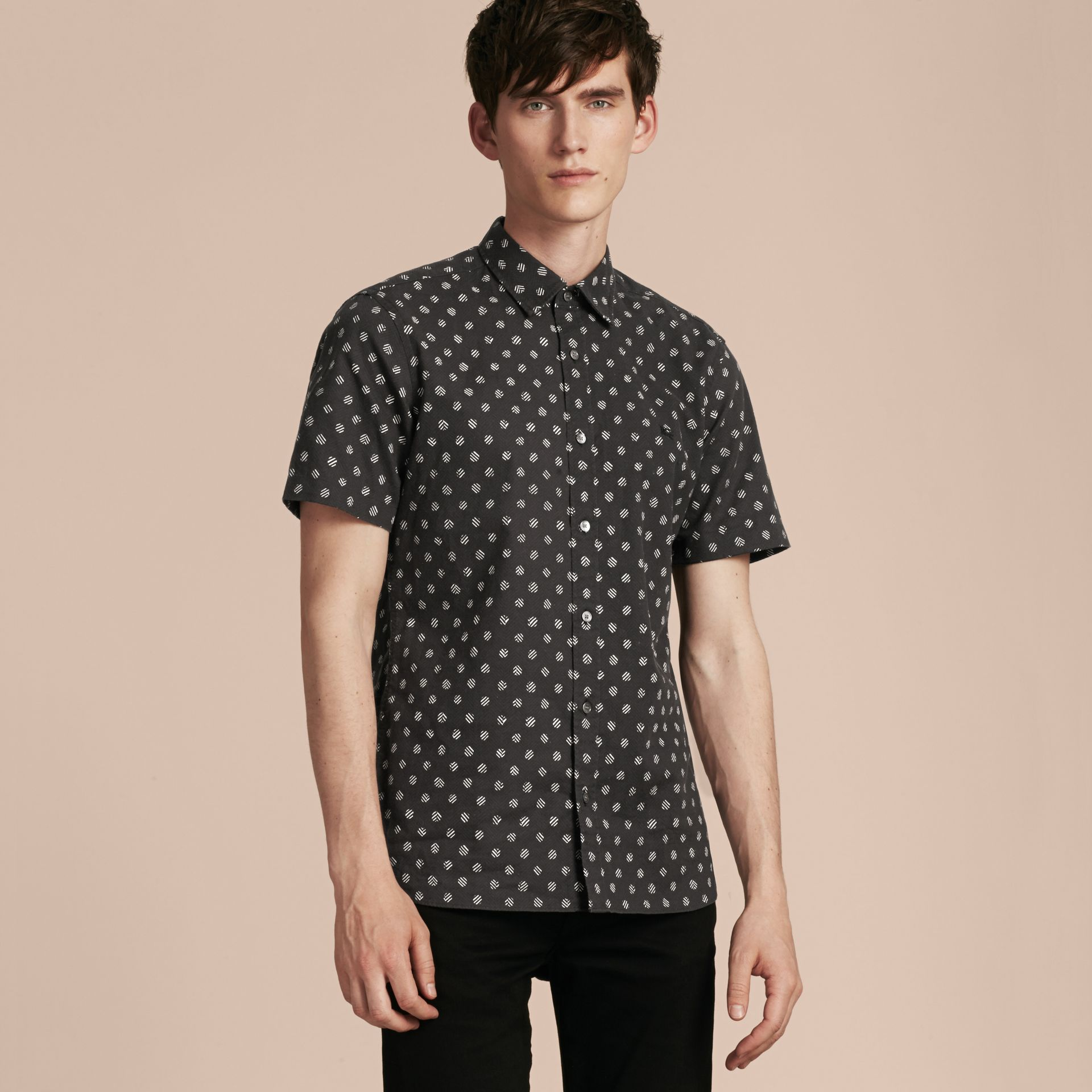 Black Short-sleeved Printed Cotton Linen Shirt - gallery image 6