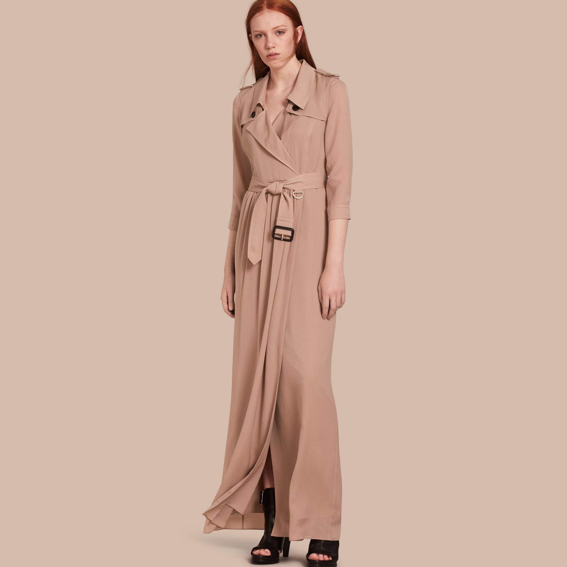 Silk Trench Dress in Nude - Women | Burberry - gallery image 1
