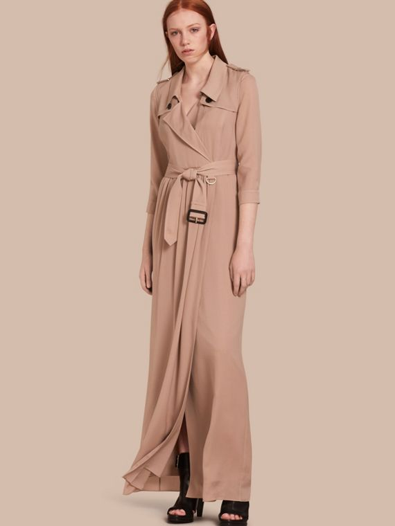 Silk Trench Dress in Nude