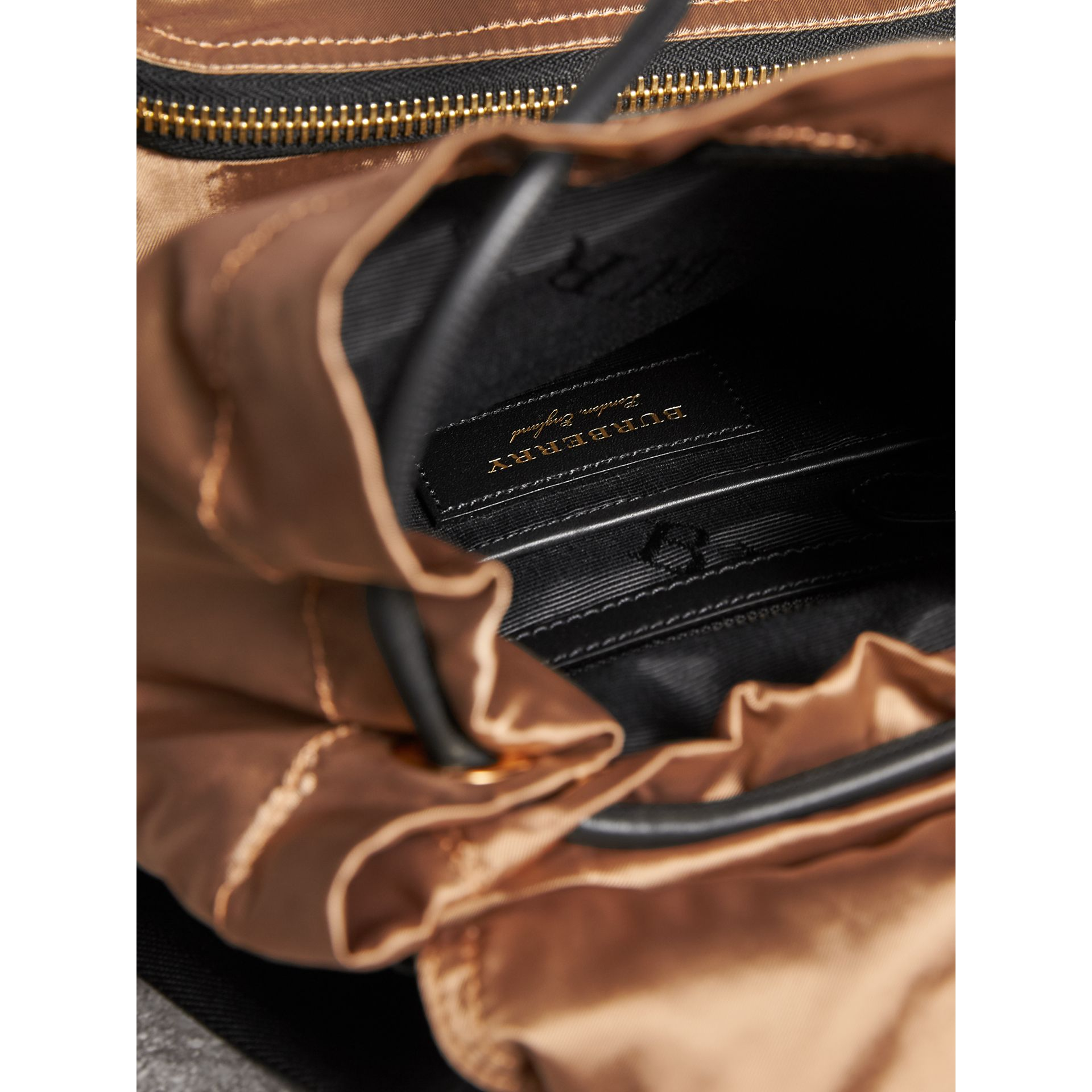 The Medium Rucksack in Two-tone Nylon and Leather in Gold/black - Women | Burberry United States - gallery image 4