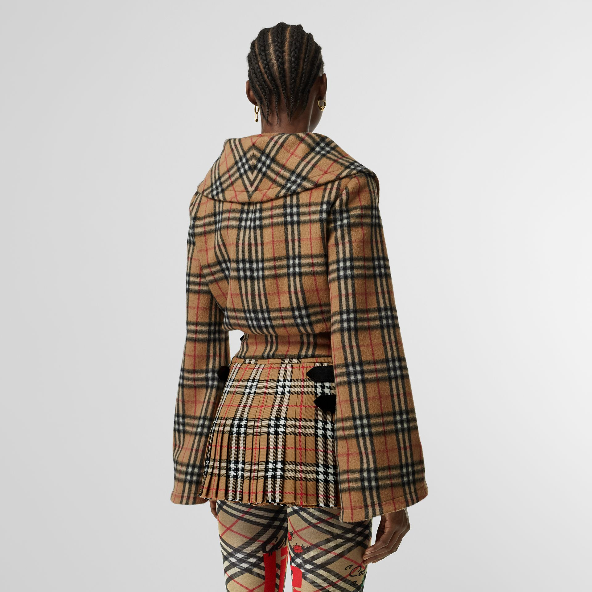 Vintage Check Alpaca Wool Hugger Jacket in Antique Yellow | Burberry - gallery image 2