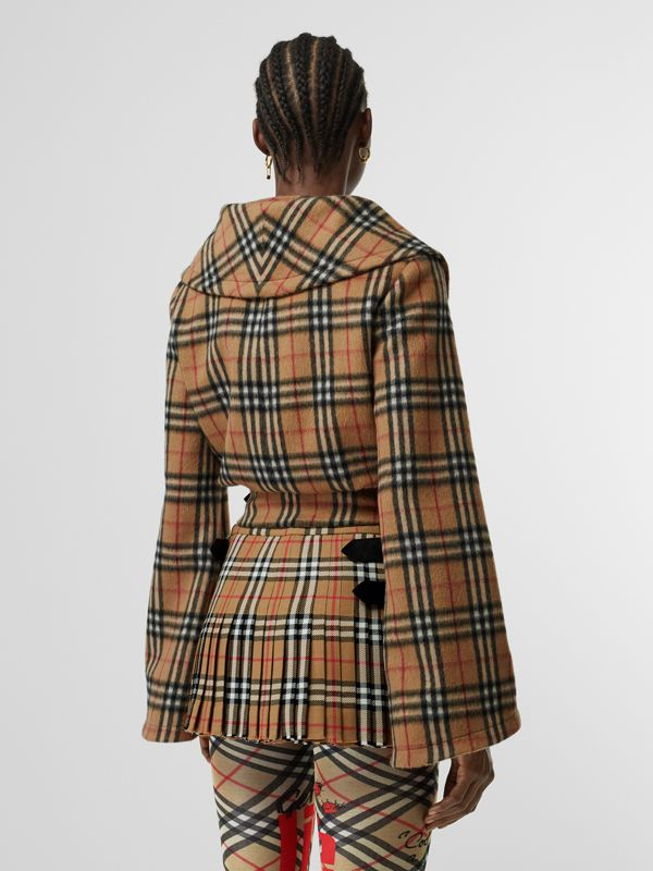 Vintage Check Alpaca Wool Hugger Jacket in Antique Yellow - Women | Burberry Australia - cell image 2