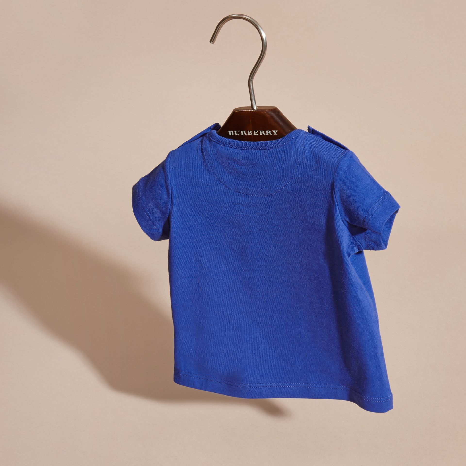 Bright lapis Crew Neck Cotton T-Shirt Bright Lapis - gallery image 4