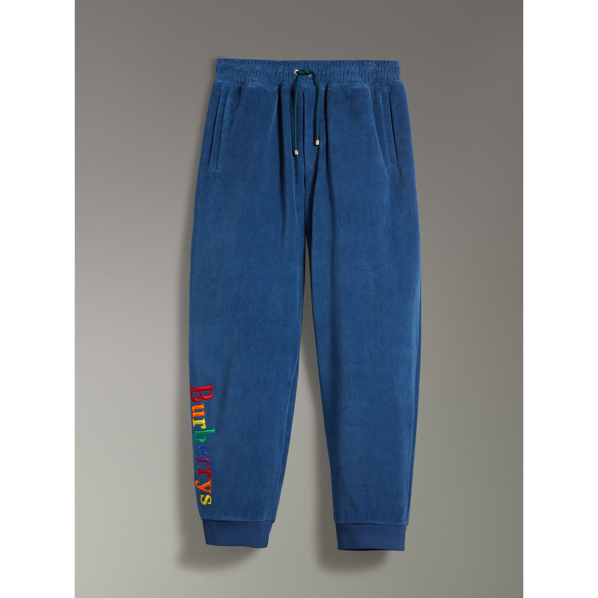Archive Logo Towelling Sweatpants in Canvas Blue | Burberry Australia - gallery image 3