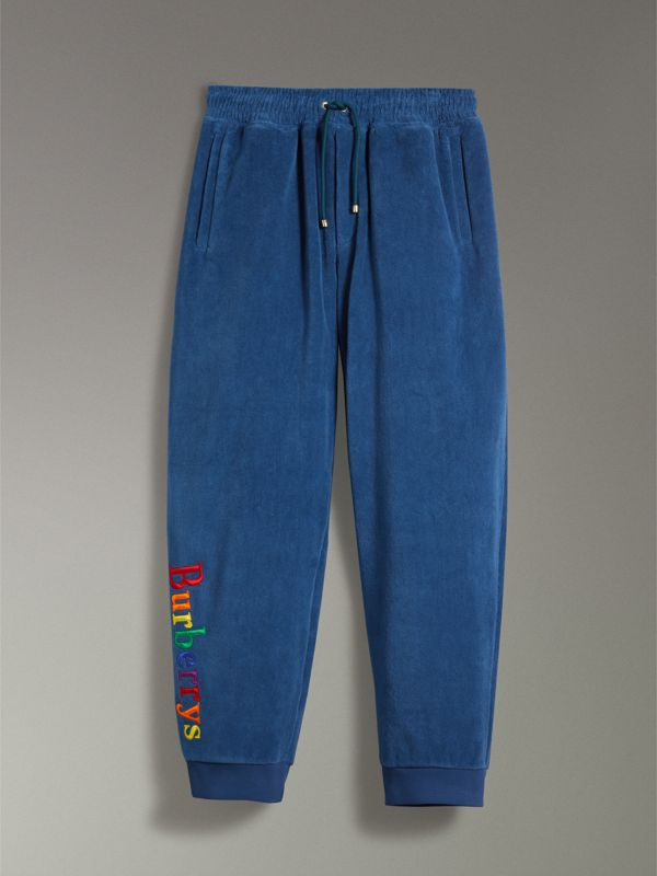 Archive Logo Towelling Sweatpants in Canvas Blue | Burberry Australia - cell image 3