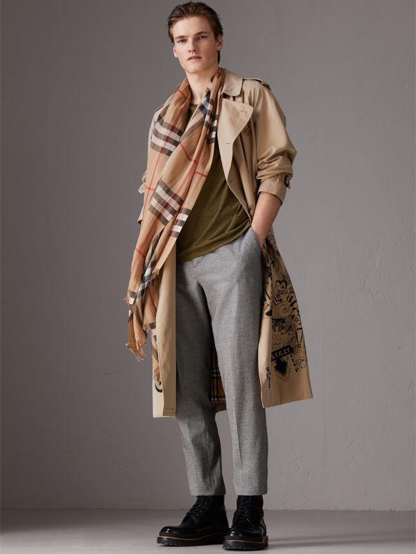 Lightweight Check Wool and Silk Scarf in Camel | Burberry Australia - cell image 3