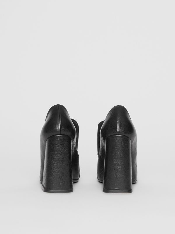 Stud Detail Leather Block-heel Pumps in Black - Women | Burberry - cell image 3