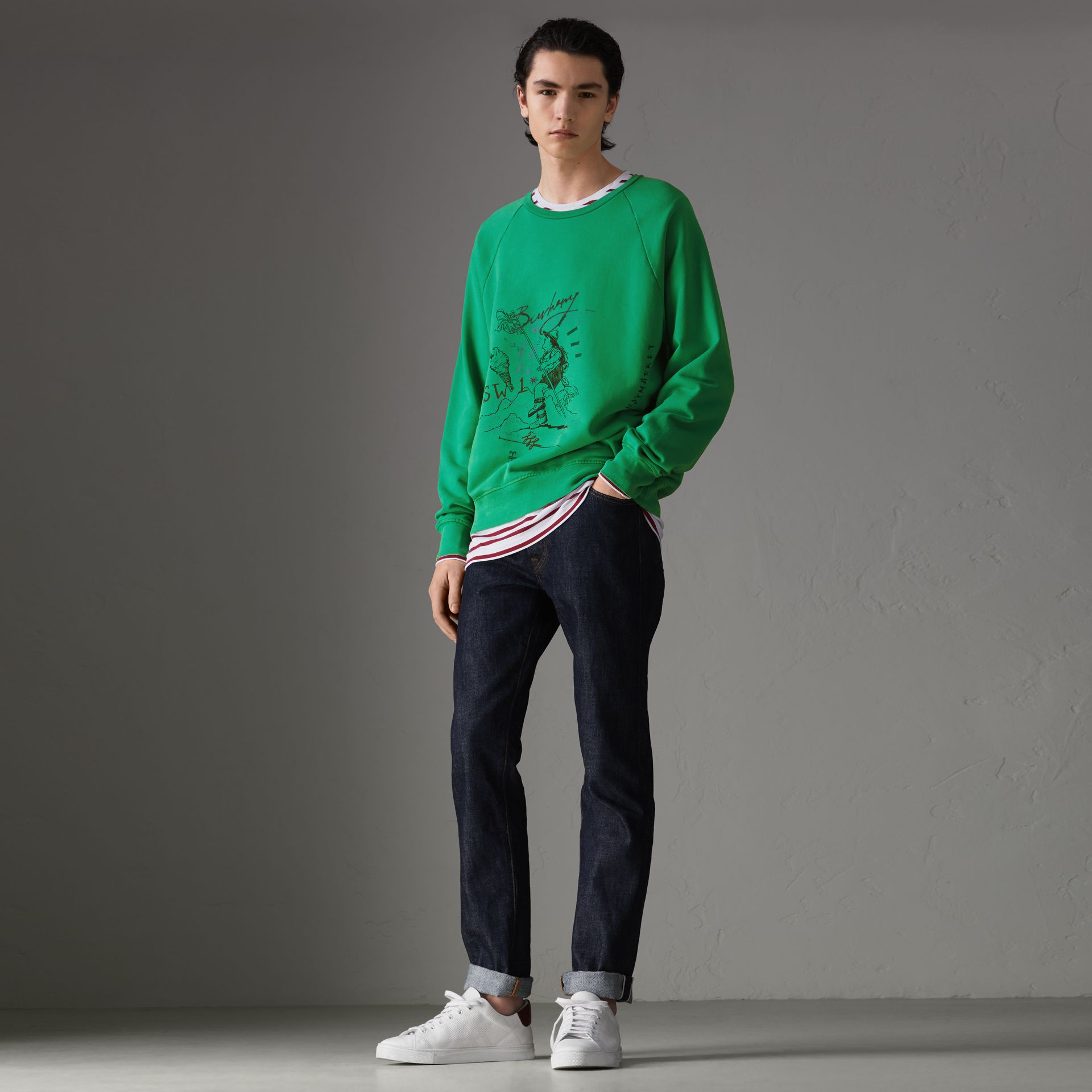 Adventure Print Cotton Sweatshirt in Bright Green - Men | Burberry Hong Kong - gallery image 0