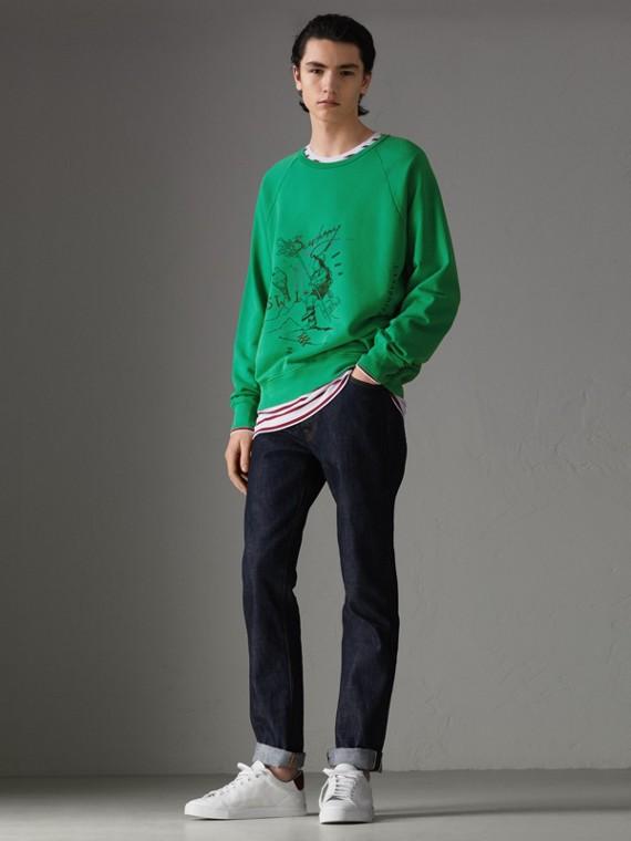 Suéter de algodão com estampa Adventure (Verde Intenso)
