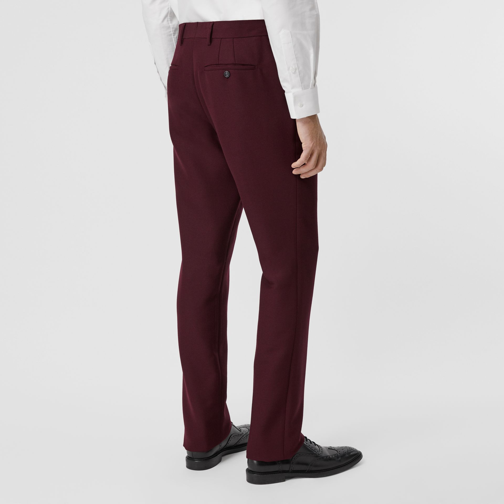 Classic Fit Wool Mohair Tailored Trousers in Deep Burgundy - Men | Burberry - gallery image 2