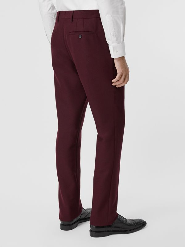 Classic Fit Wool Mohair Tailored Trousers in Deep Burgundy - Men | Burberry - cell image 2