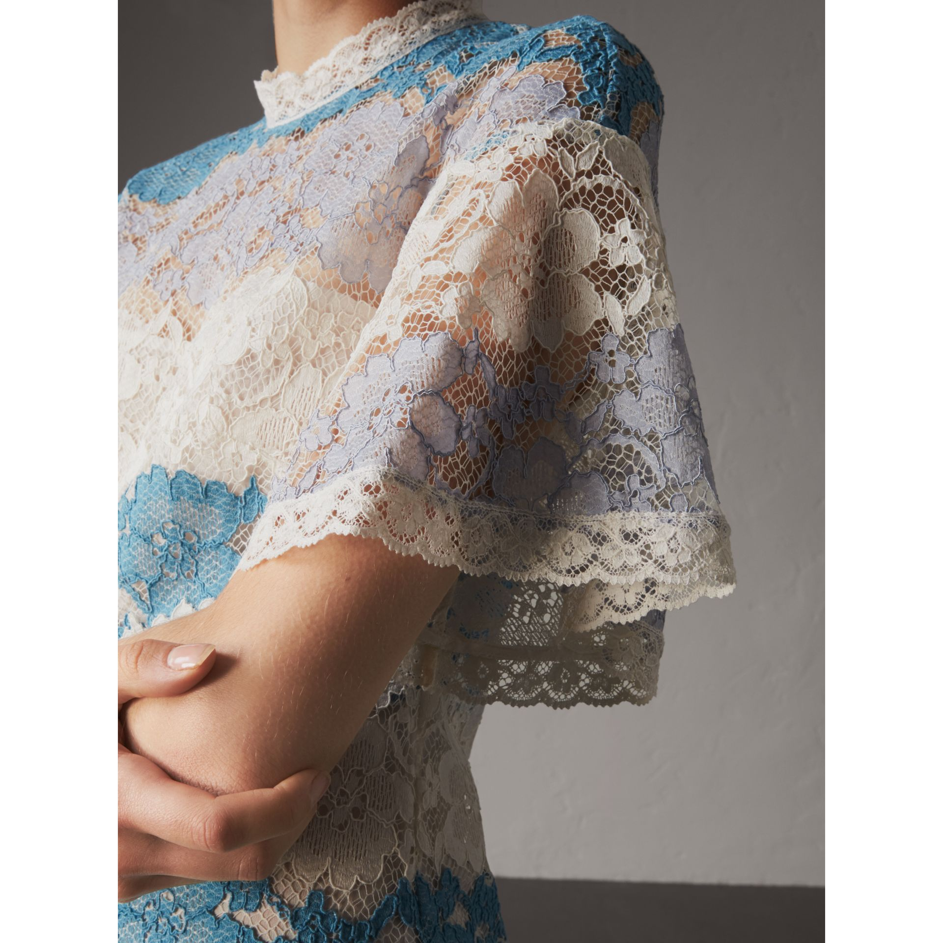 Floral Lace Dress with Flutter Sleeves in Slate Blue - Women | Burberry - gallery image 2