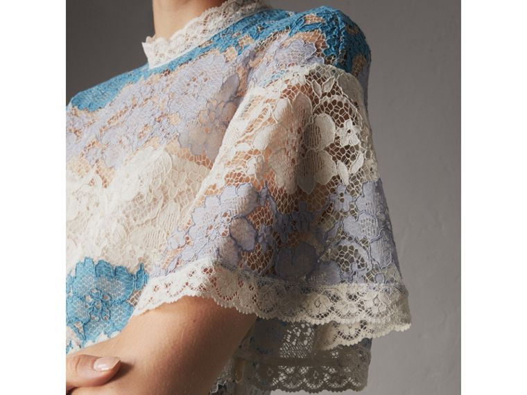 Floral Lace Dress with Flutter Sleeves in Slate Blue - Women | Burberry - cell image 1