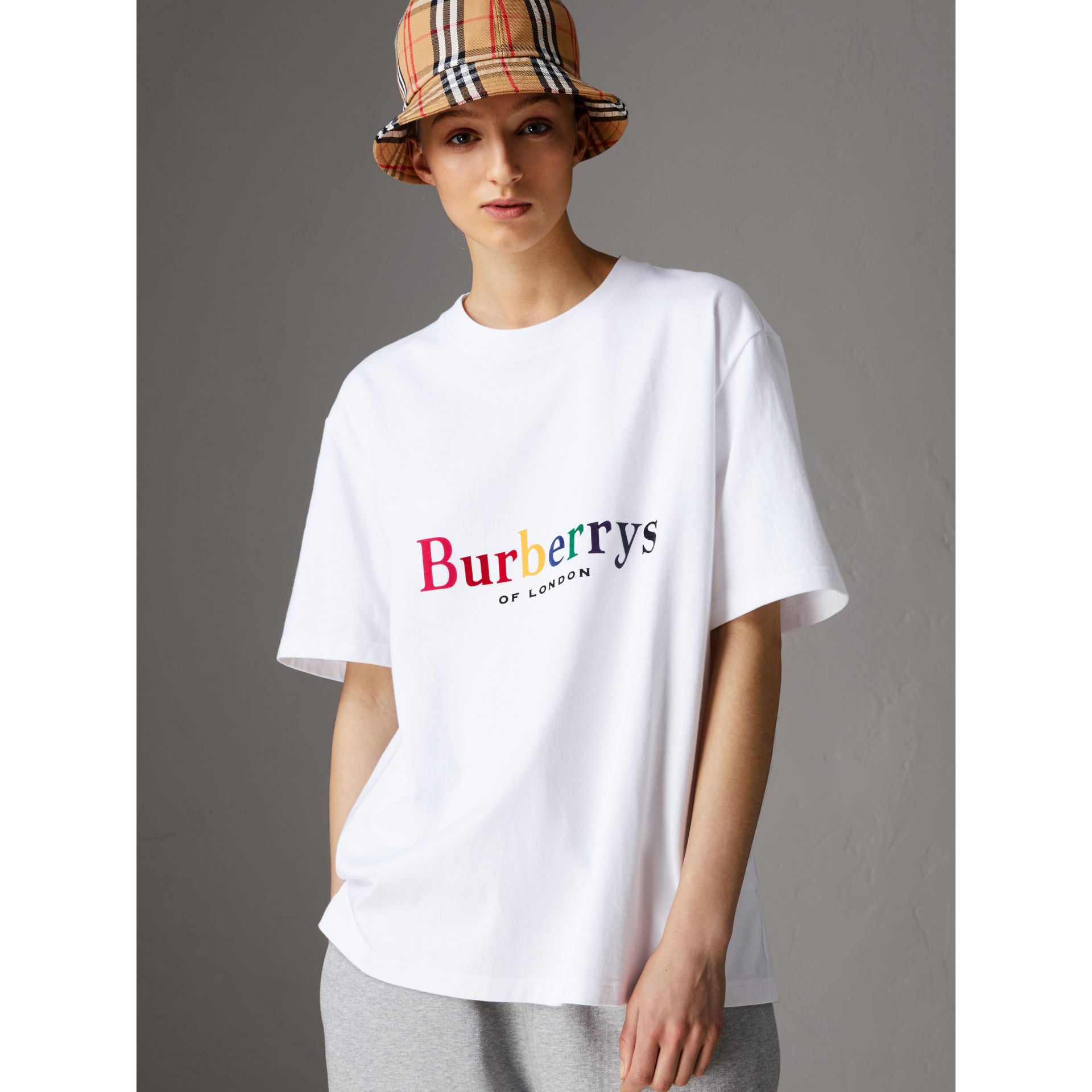 Reissued Cotton T-shirt in Rainbow - Women | Burberry - gallery image 4