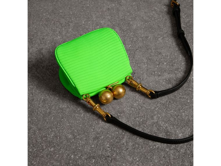 Mini Two-tone Lizard Metal Frame Clutch Bag in Neon Green - Women | Burberry - cell image 4